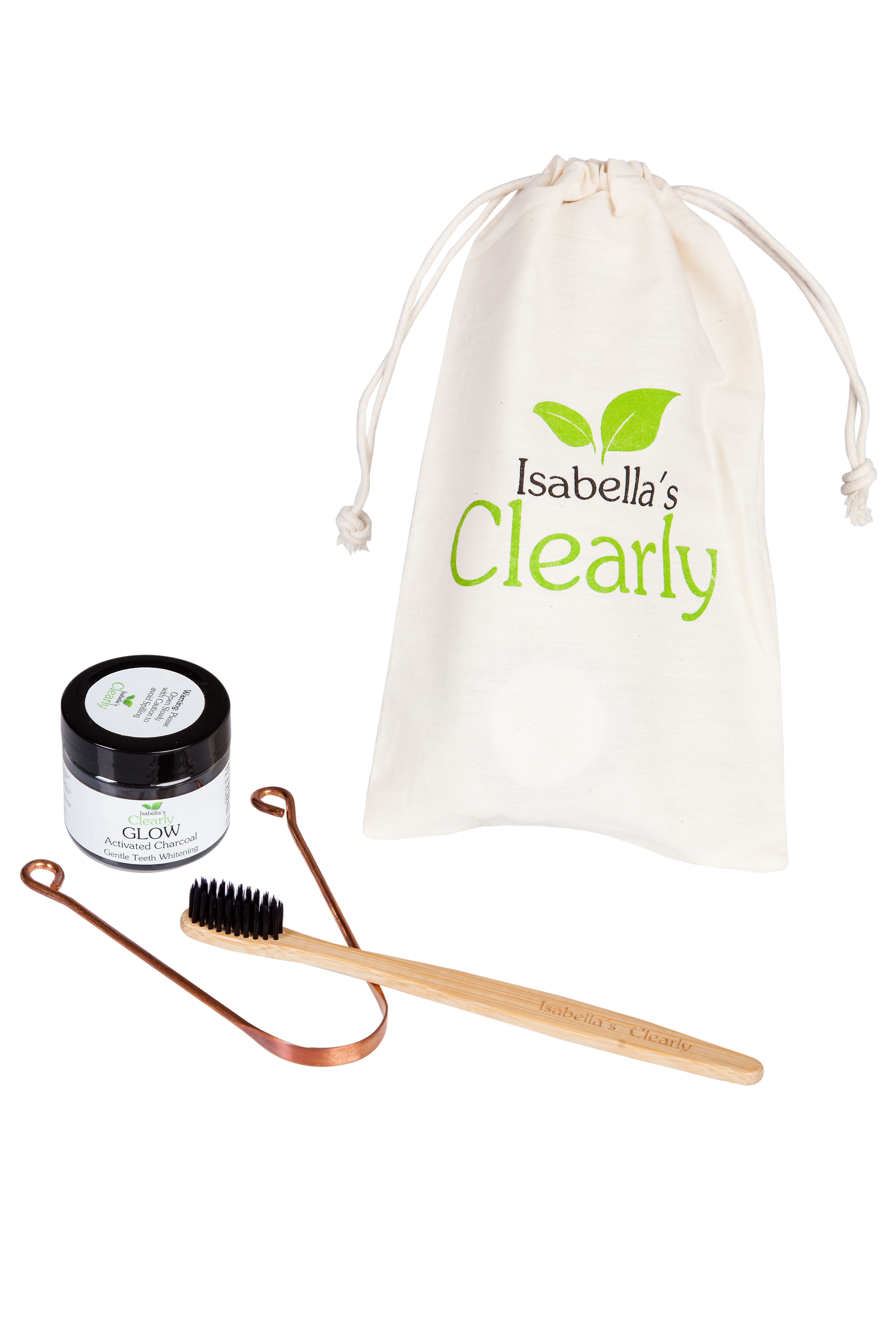 Clearly GLOW Teeth Whitening Charcoal + Toothbrush + Tongue Scraper