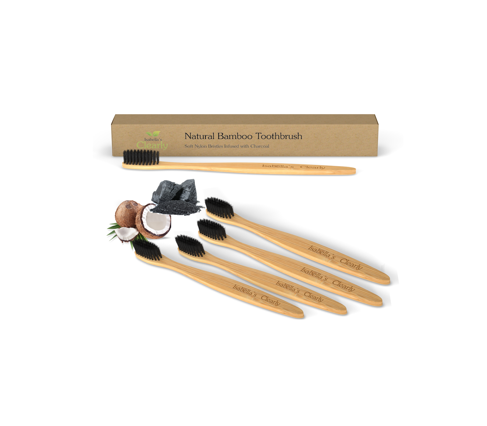 Clearly BAMBOO Soft Toothbrushes, Charcoal Infused